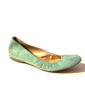 J. Crew Mint Suede Ballet Flats
